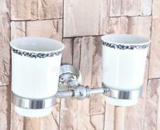Polished Chrome Double Tumbler Cup Holder Toothbrush Holder Bathroom Accessory