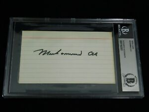 Muhammad Ali Signed 3x5 Index Card Beckett Encapsulated Boxing Cassius Clay