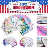 USA 50PCS Women Flower Handkerchiefs Various Cotton Vintage Hankies Floral Lady