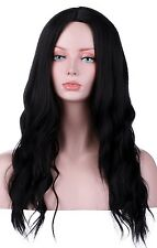 Natural Black Wig Wavy Long Middle Part Hair Wigs Synthetic Full Wig No Bangs He
