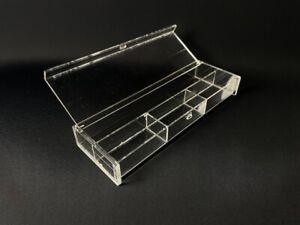 Muji acrylic storage box desk organiser make up case office clear tray hinge lid