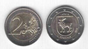 LATVIA BIMETAL 2 EURO UNC COIN 2018 YEAR ZEMGALE REGION