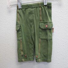 RABBIT MOON Green Cotton xx Stitch Cargo Pocket Jogger Sweat Pants 6/9m