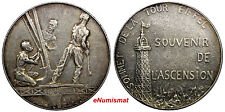 FRANCE Bronze Silver Plated Medal 1900 ART MEDAL PARIS.EIFFEL TOWER.SCARCE 41 mm