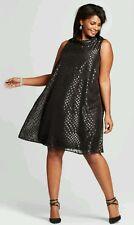 SPENSER JEREMY Black Polka Dot Shift Dress- Women's Plus Size 16W *NWT*