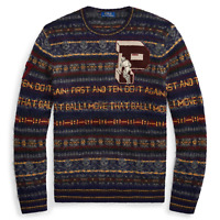 Polo Ralph Lauren Mens Fair Isle Wool Varsity Crew Patch Suede Letterman Sweater