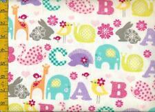 1/2 yard FLANNEL Elephant Rabbit Hedgehog Giraffe Whale Alphabet on White BTHY