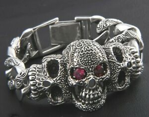 MENS DESIGNER BRACELETS FOR MEN VIKINGS SILVER SKULL SOLID 316L LUXURY CHAIN UK