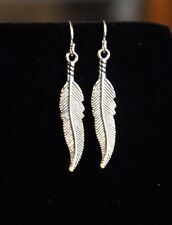 925 sterling silver earrings charm Feather pewter 1 pair Wings American bird