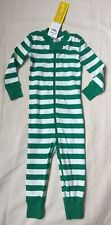 Hanna Andersson Green White Striped One Piece Pajamas 18-24 Months 80 Cm Nwt