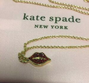 kate spade new york lips Red Pave Pendant Necklace New