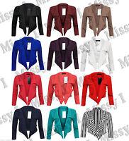 New Womens Ladies Celeb Style 3/4 Sleeve Crop Waterfall Short Blazer Jacket 8-20