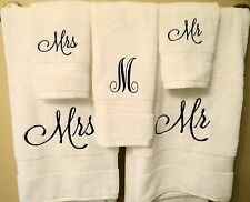 Mr. and Mrs. Embroidered White Bath Towel Set - Great Wedding or Shower Gift