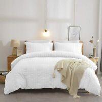 Seersucker Duvet Cover Set 100% Egyptian Cotton White Bedding Sets Double King