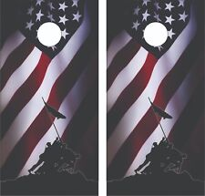 Iwo Jima Patriotic Flag Cornhole Board Skin Wrap Decal Set - Laminated