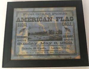 First Grand Picnic 1892 Antique Bodemann Grove Black Wood Rectangle Framed