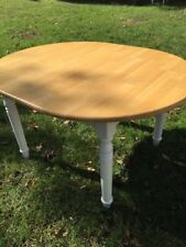 "Pine and White Country Kitchen Table Oval with Leaf (42""w x 54"" or 72""L x 30""h)"