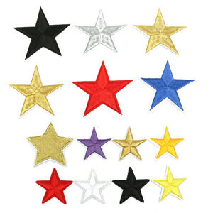 5X Five Pointed Star  Patch Iron On Sew On Embroidery Badge DIY Clothes Applique