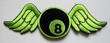 #5 8 EIGHT BALL BILLIARDS POOL WING FLY Embroidered Iron on Patch Free Shipping