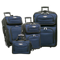 Travelers Choice Navy Amsterdam 4-Piece Lightweight Rolling Luggage Suitcase Set