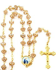 """NEW MADE IN ITALY CLEAR WITH GOLD TRIM """"MEDIEVAL"""" GLASS BEAD ROSARY"""
