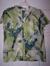 Worthington Casual Shirt Green Floral Sz 16 EUC Nice!