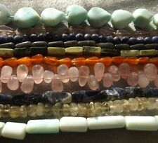 GEMSTONE BEAD MIX NATURAL 10 STRANDS HAND CUT NICE GRADE C VARIED SIZE & SHAPE