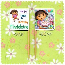 20 PERSONALISED DORA THE EXPLORER CUP CAKE FLAG Party Pick Topper Birthday