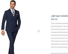 $999 *CURRENT MODEL* Suitsupply 40R/50 Suit Peak Lapel Double Breasted Navy JORT