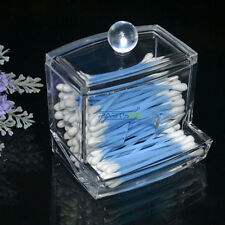 New Clear Acrylic Cotton Swab Organizer Box Cosmetic Holder Makeup Storage *USA*