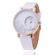 HS Weiß Damen Lederarmbanduhr Armbanduhr Quarzuhr Watch Sand Strass 24.5cm