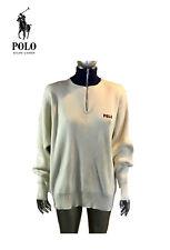 Polo Ralph Lauren L, Crema Color, 1/2 Medio Jersey con Cremallera Azul, Hechizo
