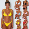2tlg Damen Träger Push Up Bikini Set Gepolstert Brasilien Bademode Badeanzug 38