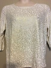 (NWT) JM Collection Women's White/Gold Lattice Scroll 3/4 Sleeve Top Plus Size