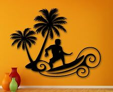 Wall Sticker Vinyl Decal Extreme Sports Surfing Beach Relax Palms (ig2029)
