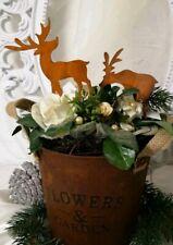 Edelrost Hirsch Rentier 2er Set Garten Beetstecker Weihnachten Christmas shabby