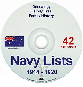 Family History Tree Genealogy England WW1 Navy Lists 1914-20 Old Books DVD