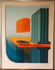 Vtg 1970s Op Art Serigraph Wall Hanging Retro Mid Century Modern Signed Cascione