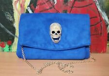 AKIRA CHICAGO Red Label - Navy Blue Faux Suede Shoulder bag Clutch Bling Skull