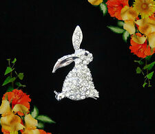 CLEAR WHITE RHINESTONE EASTER BUNNY RABBIT SILVER BROOCH PIN~CUTE SPRING GIFT