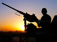 MILITARY ARMY MACHINE GUN NEST POST SILHOUETTE SOLDIER POSTER ART PRINT BB1256A