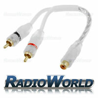 RCA Y Splitter Lead/Adapter 1 x Female TO 2 x Male White High Quality Cable