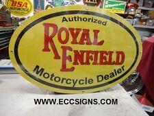 "ROYAL ENFIELD MOTORCYCLE OVAL    LG  SIGN  15"" x 24""  PARTS EC0258"