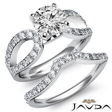 Round Diamond Engagement Bridal Pave Set Ring Gia F Si1 14k White Gold 1.9ct
