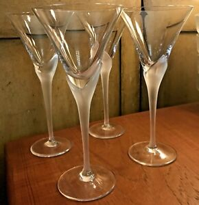 Set of 4 Mikasa Crystal Wine Glass Vogue Frost Fire Vintage Retro 1980s