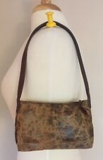 Henry Cuir Beguelin Khaki & Brown Embossed Mini Bag with Zip Closure & Tassel