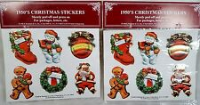 1950's CHRISTMAS STICKERS - Set of 12 - Embossed - Vintage Santa Snowman Wreath