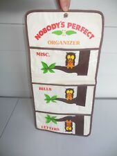 CUTE Vintage NOBODY'S PERFECT Hanging OWL LETTER ORGANIZER