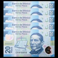 Lot 5 PCS, Mexico 20 Pesos, 2016, P-122 NEW, Polymer, UNC
