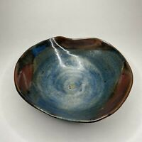 "Studio Art Pottery Hand Thrown Bowl 7"" Collapsed Edge Purple Blue Drip Signed"